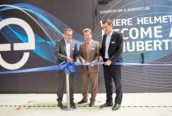 Schuberth executives dedicate the new facility.