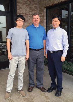 Newly appointed CFMOTO worldwide general manager MJ Lai (left) with CFMOTO president and chairman of the board Mr. Guogui Lai and PSB editor Dave McMahon.