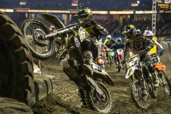 Colton Haaker (10), Mike Brown (3) and Taylor Robert (33) had a great battle for second at the Everett, Washington EnduroCross. Photo: Drew Ruiz
