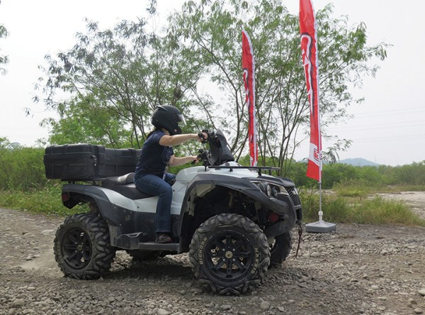 Liz was given the opportunity to ride TGB's 1000cc utility ATV at the TGB test site in the Taiwanese mountains.