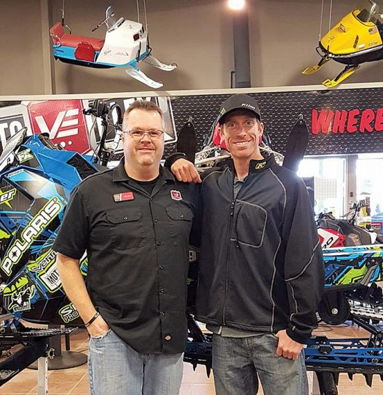 u Vern Eide Motoplex general manager Steve Nunn and Polaris backcountry riding expert Chris Brandt during a visit to the store in Sioux Falls, S.D.