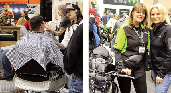 Left: Flo's Chop Shop offered free beard or mustache trims, straight razor line ups, boot shines or manicures with special Flo nail polish. Right: Representatives pause for a photo in the Kawasaki booth.