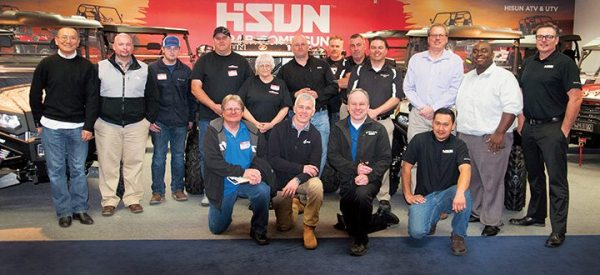 The inaugural Hisun Dealer Council gathered in February at the company's U.S. operations in McKinney, Texas. (Bottom row, left) Jeff Brown, Ryan Daugherty, Dave Ballard and Dona Thach. (Top) Jason Sun, Steven Crane, James Crane, Shane Slaugh, Dorothy Slaugh, Shane Wilson, Chuck Dempsey, Troy Walls, Tyson Thompson, Dave Luce, JaVaughn Spencer and Matt Clayton.
