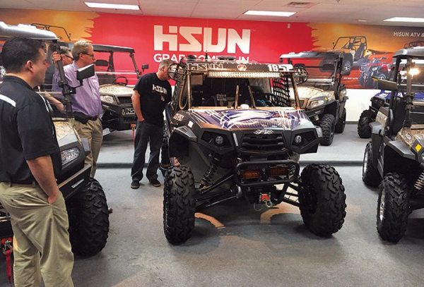 The Hisun showroom houses the brand's lineup of ATVs and UTVs.