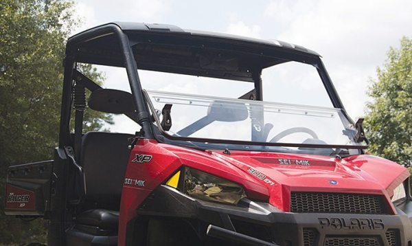 The Versa-Fold Windshield by Seizmik can be operated from inside a user's UTV.