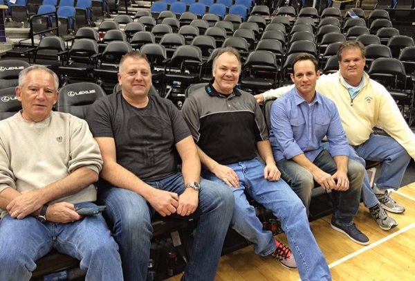 Minnesota Timberwolves courtside seats were a hit with CFMOTO regional sales managers (from left) Harlan King, Dave Hrejsa, Dave Auringer (VP of sales and dealer development), Johnny Hayes and Jim Gotham.