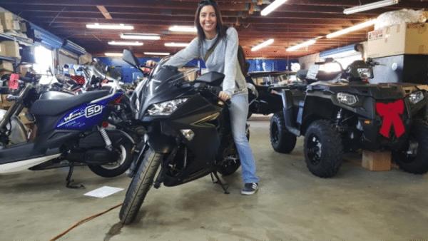 Jenna Dowd loves her new Kawasaki Ninja 300.
