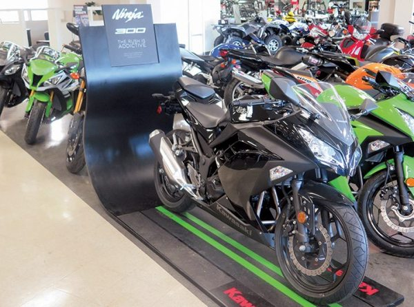 More showroom space means more space for cool displays like this for the Kawasaki Ninja 300.