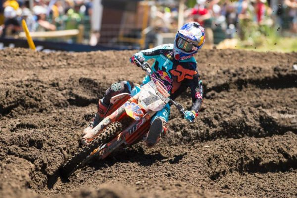Dungey overcame a crash in Moto 2 to finish second overall. Photo credit: Simon Cudby.