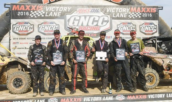 The Wiseco John Penton GNCC brought a Can-Am Maverick podium sweep. Reigning XC1 Pro UTV class champion Kyle Chaney won the race in Ohio and was joined on the box by fellow Can-Am Maverick side-by-side vehicle pilots Tim Farr and Cody Miller.