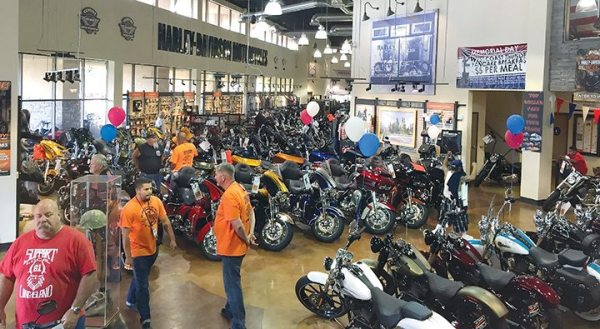 The showroom of Riverside Harley-Davidson in California is striking, with about 100 bikes in the showroom at all times.