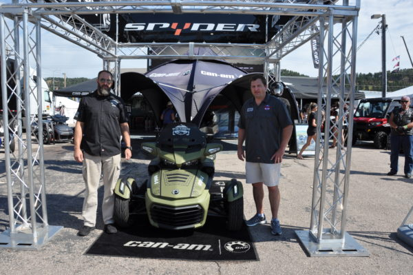 Chris Little and Steve Berger of the Road Warrior Foundation with their new military-themed Can-Am Spyder.