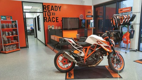 KTM North America has a sample showroom within its Murrieta, California, headquarters to show visiting dealers what their displays could look like.