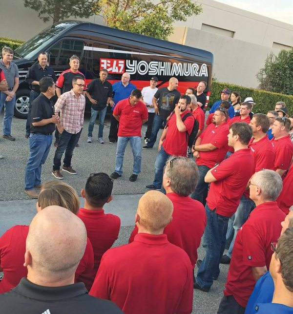 Attendees at the MTA annual sales meeting were treated to a tour of the nearby Yoshimura R&D facilities.