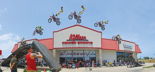Events at Killeen Power Sports are focused on community building, rather than sales, as highlighted in this photo created of a motorcycle jump in front of the Texas dealership.