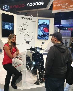 KYMCO had a booth in the North Hall of the Las Vegas Convention Center, where traffic was consistent with interested attendants. The booth featured two separate KYMCO scooters and staff to explain the app to viewers.