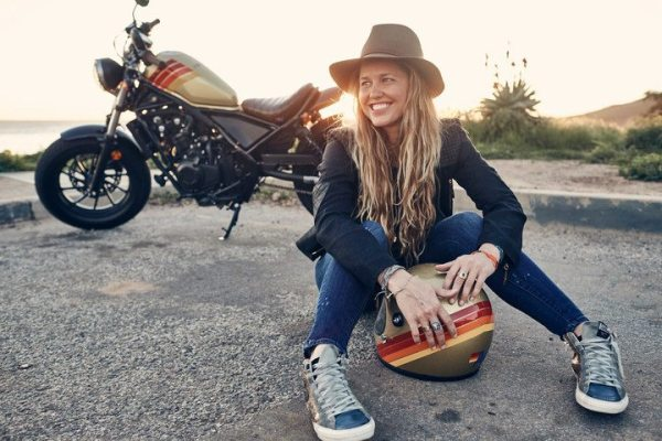 Aviator Nation founder Paige Mycoskie and her custom designed 2017 Aviator Nation + Honda Motorcycle