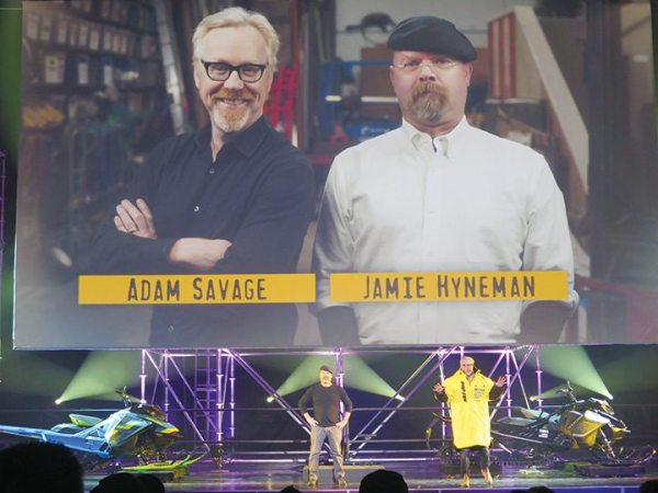 "Adam Savage and Jamie Hyneman from Discovery Channel's ""Mythbusters"" presented Ski-Doo's new SHOT engine starting technology at Club BRP in Reno, Nevada."