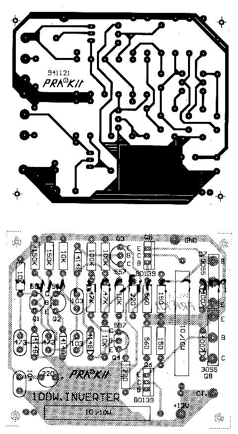12v to 220v 100w inverter power supply circuits100w 12v to 220v ac pcb layout