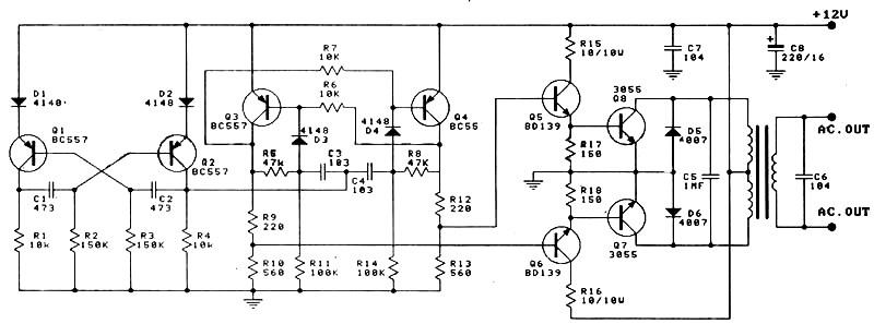 12v to 220v 100w inverter power supply circuits12v to 220v 100w inverter circuit