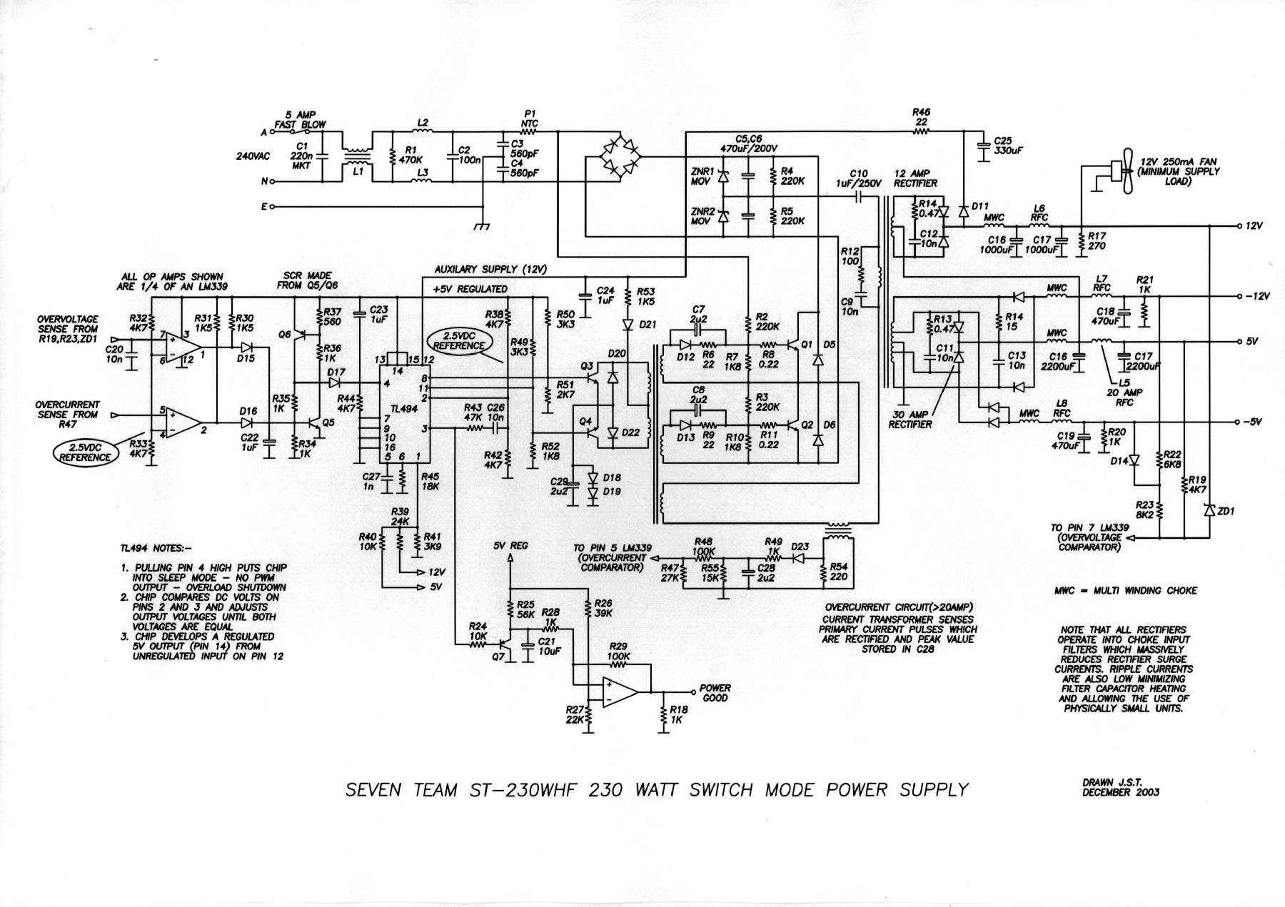 230W switch mode power supply