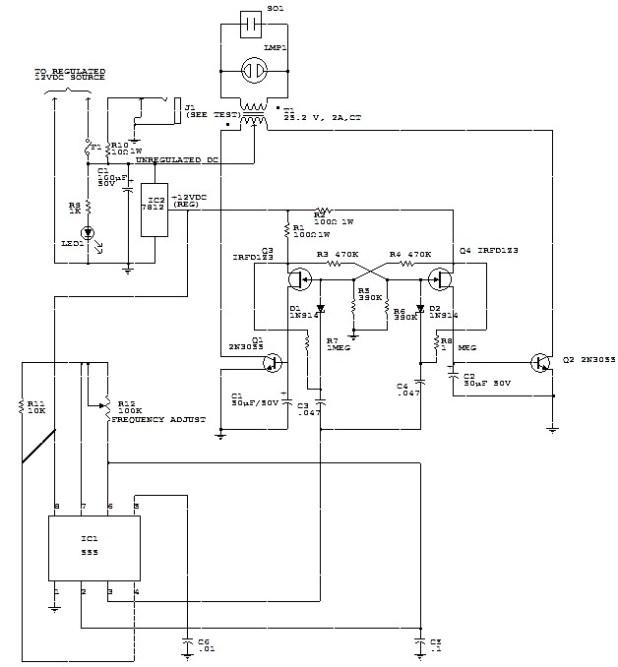 12 Vdc To 117 Vac 60hz Power Inverter Power Supply Circuits