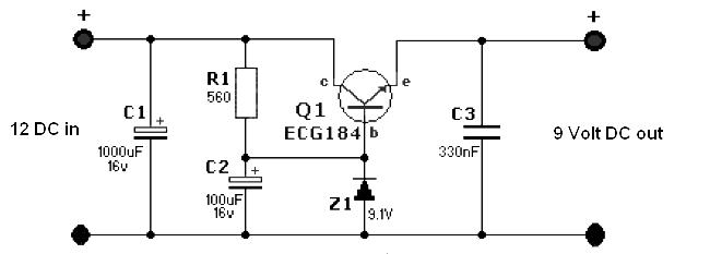 12 to 9 volt dc-dc converter schematic