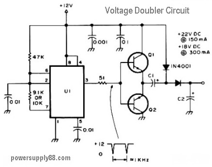 12V DC Voltage Doubler Circuit  Power Supply Circuits