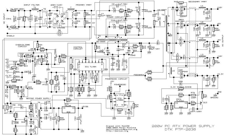 200W ATX Power Supply Circuit - Power Supply Circuits