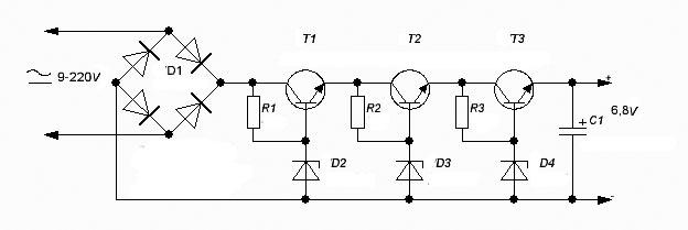 6.8V Transformerless Power Supply