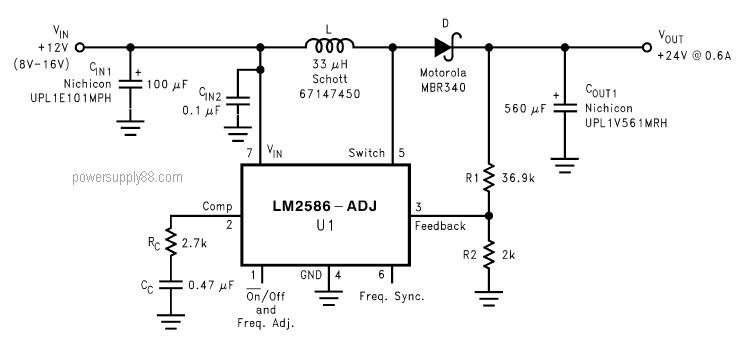 DC Voltage Doubler Circuit 12V To 24V Using LM2586 Power - 12 Volt Ups Circuit Diagram
