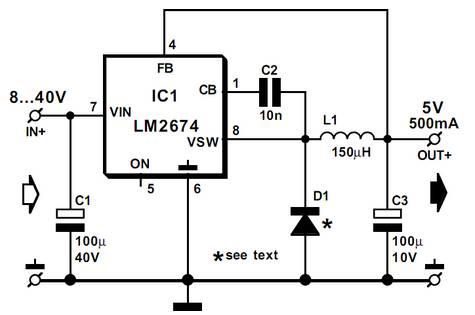 5v 500ma power supply circuit diagram