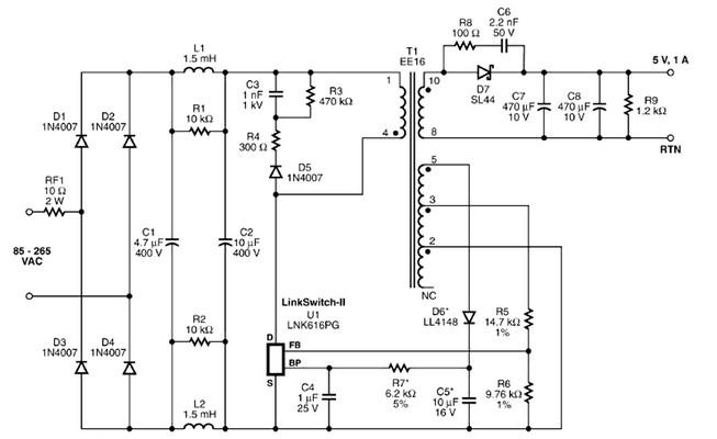 5 volt charger based LNK616PG