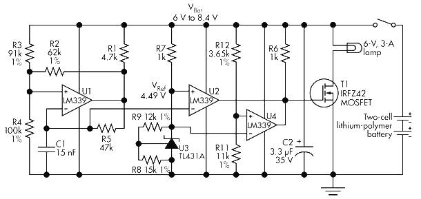 6 volt power supply based on two lipo batteries and