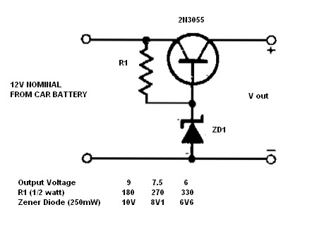 Simple 12V to 9, 7.5 or 6V converter - Power Supply Circuits