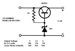 Simple 12V to 9, 7.5 or 6V converter