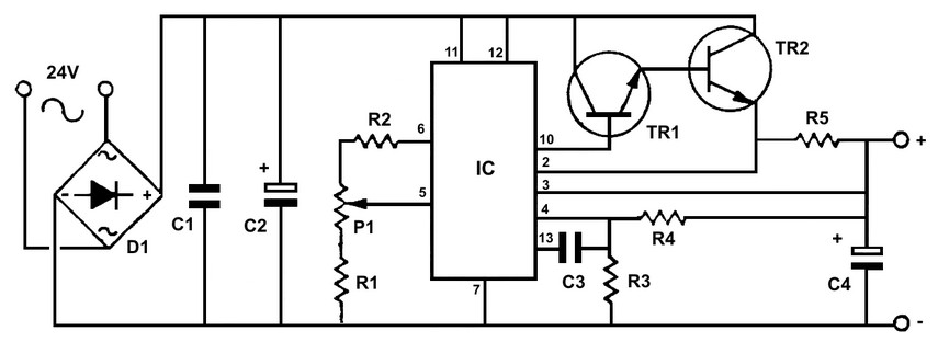 Adjustable regulated power supply LM723 schematic