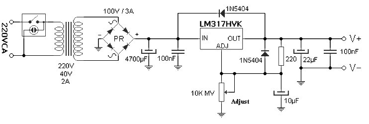 57 V variable power supply circuit