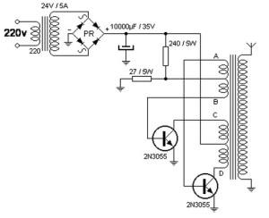 Converter 220V AC ke 40kV AC circuit