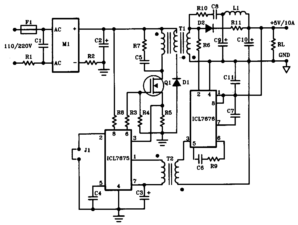 Power Supply Circuit Of 5v And 33 V Output Powersupplycircuit