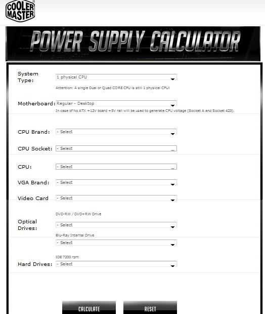 Cooler Master Power Supply Calculator - Power Supply Circuits