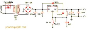1.2V - 57V Regulated Power Supply Circuit