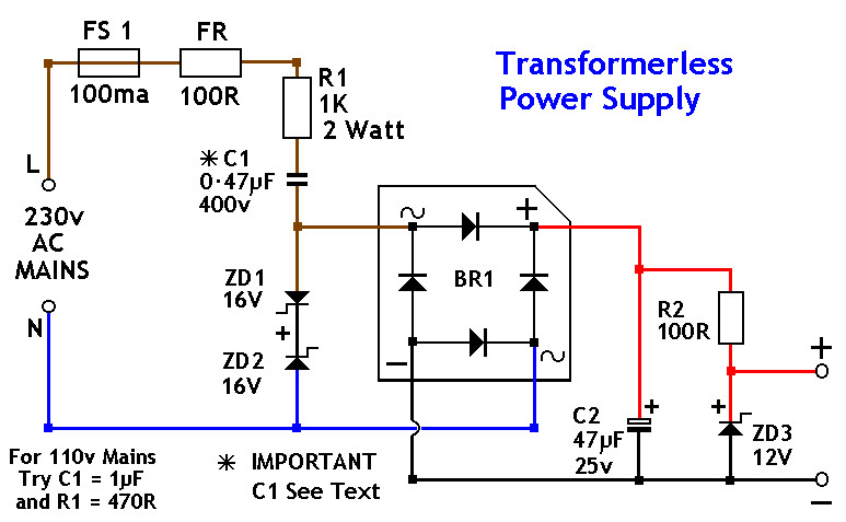 Transformerless power supply 12v 12v dc power supply without transformer power supply circuits transformer circuit diagram at gsmx.co