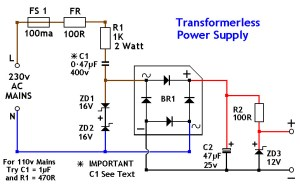 Transformerless power supply 12v