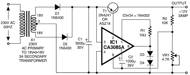 12v    3a regulated power supply circuit