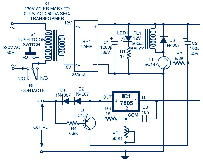 Circuit Diagram of Auto Switch-Off Power Supply