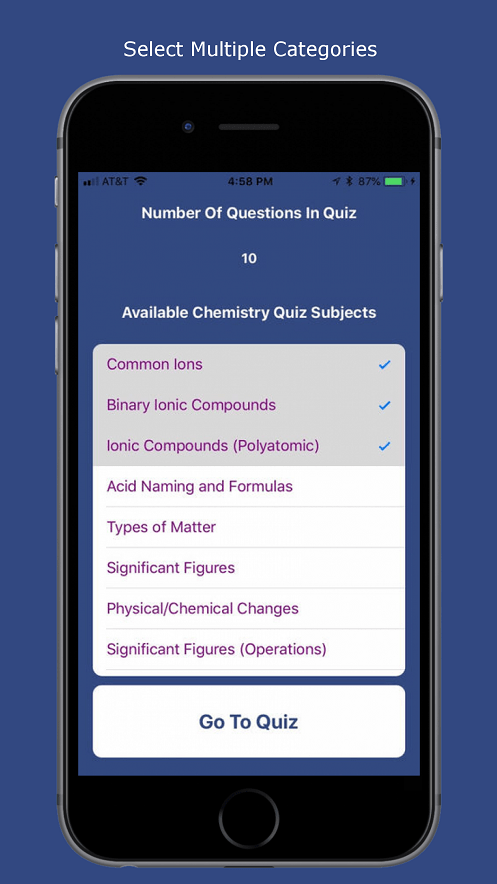 Chemistry Quiz App Select Multiple Categories Common Ions Acid Naming Significant Figures