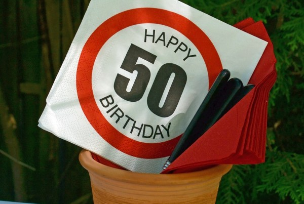 happy fiftieth birthday sign in plant pot