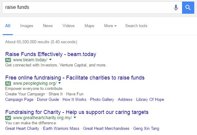 google-keyword-search-raise funds