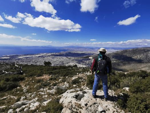 Χαρακτηριστική εικόνα - θέα από το Υμηττός Trail, Θέση Στρώμα